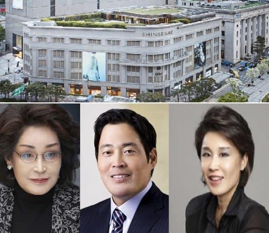 신세계그룹 이명희 회장(왼쪽부터)·정용진 부회장·정유경 사장 © 갓잇코리아