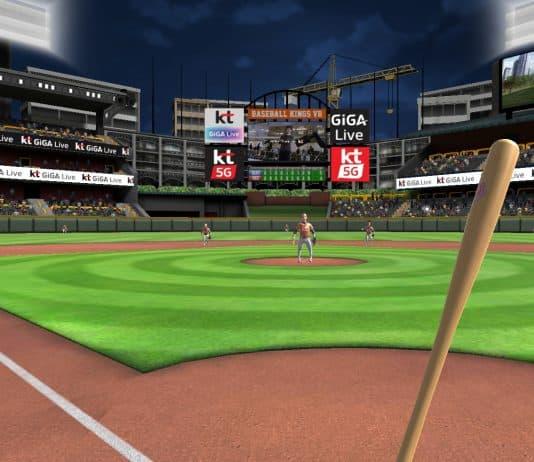 KT가 서비스할 예정인 'VR 스포츠' 게임의 아구 편 중 타자 관점 화면. © 갓잇코리아