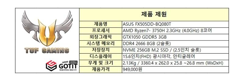 ASUS FX505DD-BQ080T 제품제원