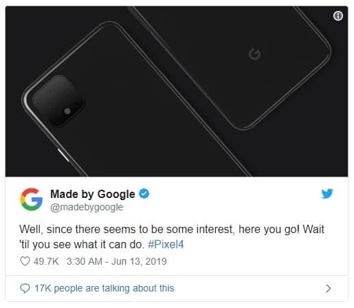 구글이 트위터를 통해 공식적으로 공개한 '픽셀 4' 렌더링 이미지 ⓒ  갓잇코리아