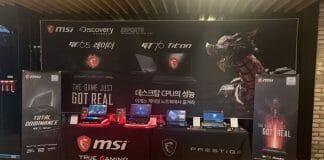 MSI 신제품 노트북 전시 ⓒ 갓잇코리아 / MSI 제공