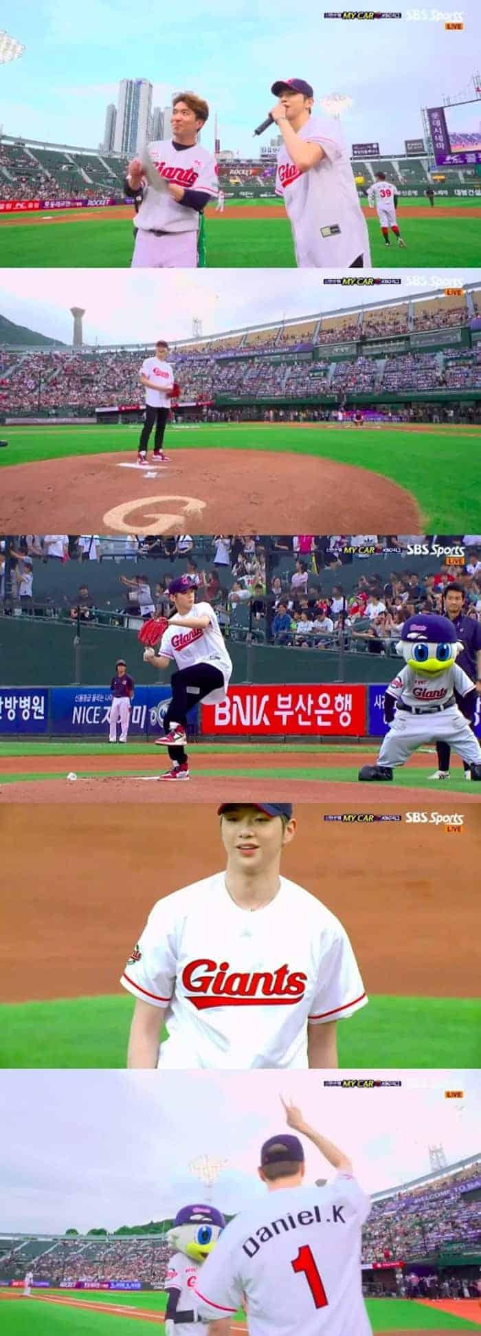 강다니엘, 시구+홍보대사 위촉식…6개월만 팬들과 만남 ⓒ SBS SPORT 캡쳐