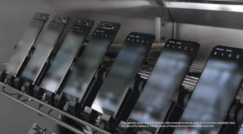삼성전자가 공개한 갤럭시A80 로테이션 테스트 영상(삼성 뉴스룸 유튜브 갈무리) © 갓잇코리아