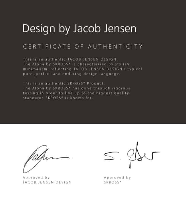 '에스크로스 알파', Jacob Jensen Design 인증서 ⓒ 갓잇코리아