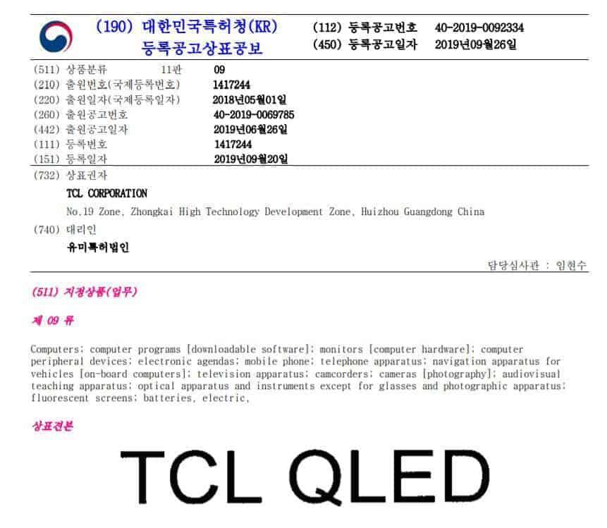 특허청이 지난 26일 공개한 TCL의 'TCL QLED' 상표등록 공고문(특허청 제공) © 갓잇코리아