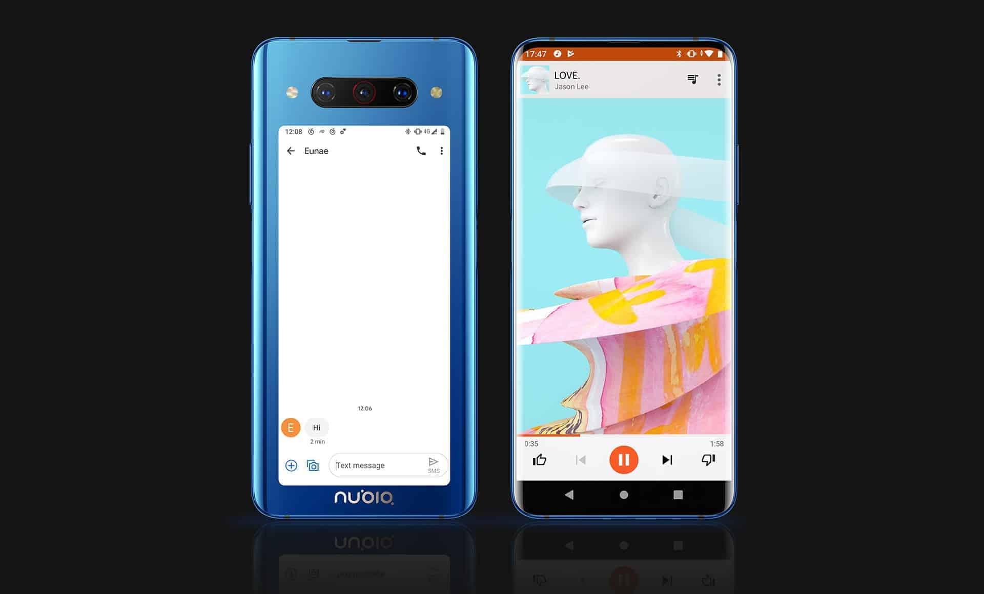 앞-뒤 듀얼 스크린 니비아 'Z20' 스마트폰