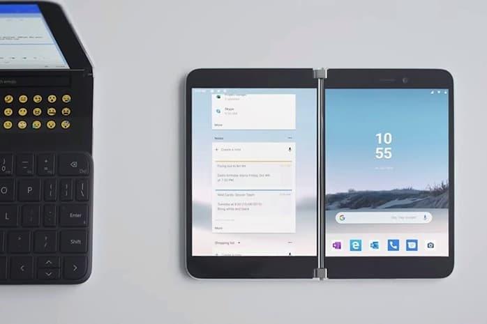 마이크로소프트가 공개한 폴더블 스마트폰 '서피스 듀오'의 모습. (MS 영상 캡처) © 갓잇코리아