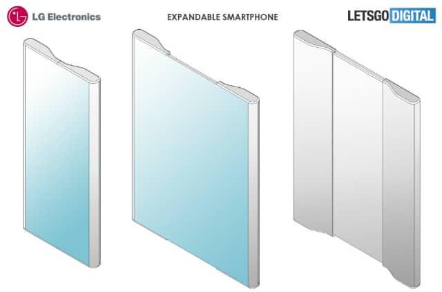 LG전자가 특허 출원한 익스팬더블 스마트폰 예상 모습. (출처; 렛츠고디지털) © 갓잇코리아