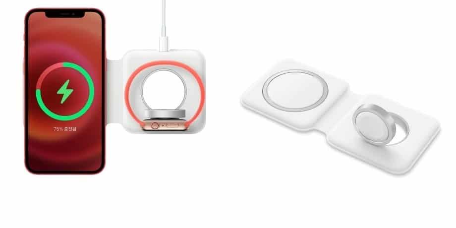 애플 무선 충전기 '맥세이프 듀오'를 이용해 아이폰12와 애플워치를 동시에 충전하는 모습