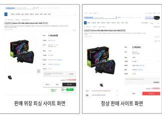 그래픽카드 판매 위장 피싱사이트와 정상 사이트 비교화면(제공: 안랩)