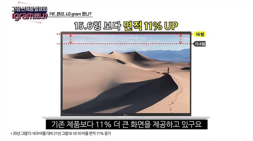 15인치 보다 작은 16인치! 세계 최경량 2021 신형 노트북 'LG 그램 16' / LG전자 제공