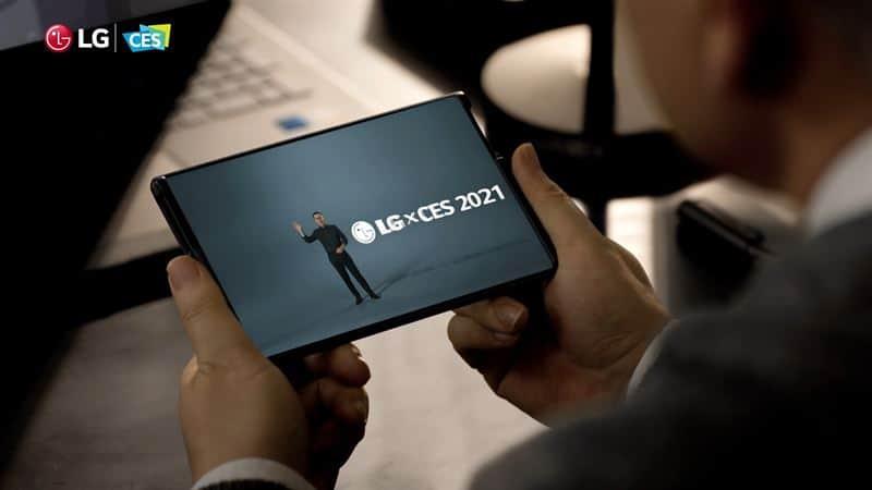LG전자 CES2021 컨퍼런스에서 'LG 롤러블'이 나오고 있다