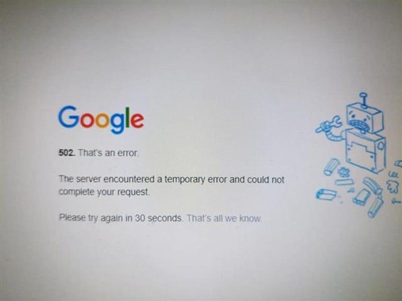 구글이 여러차례 먹통이 되고 있다 - 구글 캡쳐화면