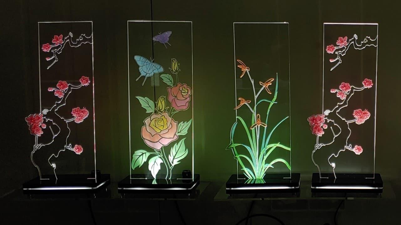 그림으로된 식물과 무드등을 합친 인테리어 소품