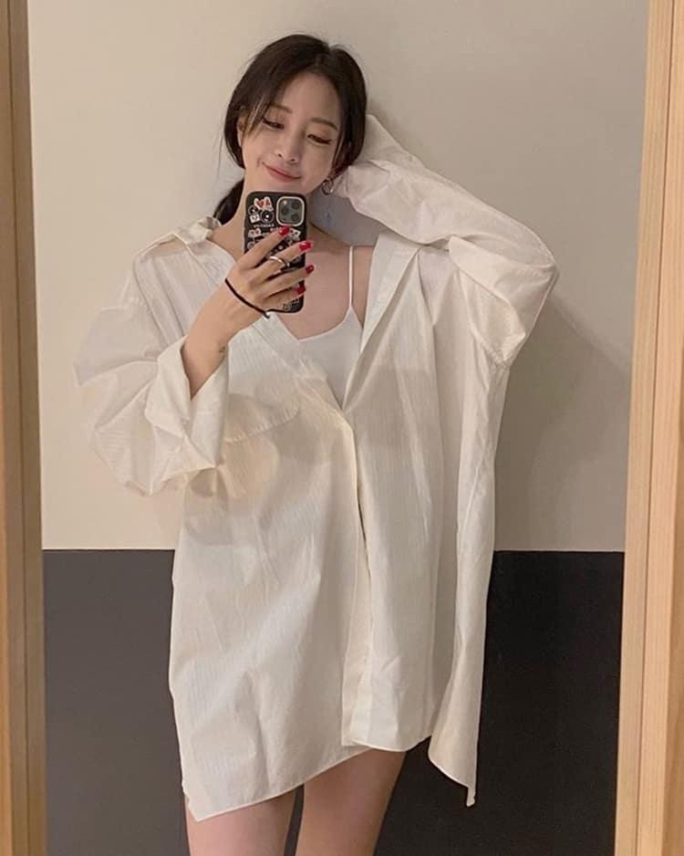 한예슬 언발란스 셔츠 패션 / 한예슬 인스타그램 출처