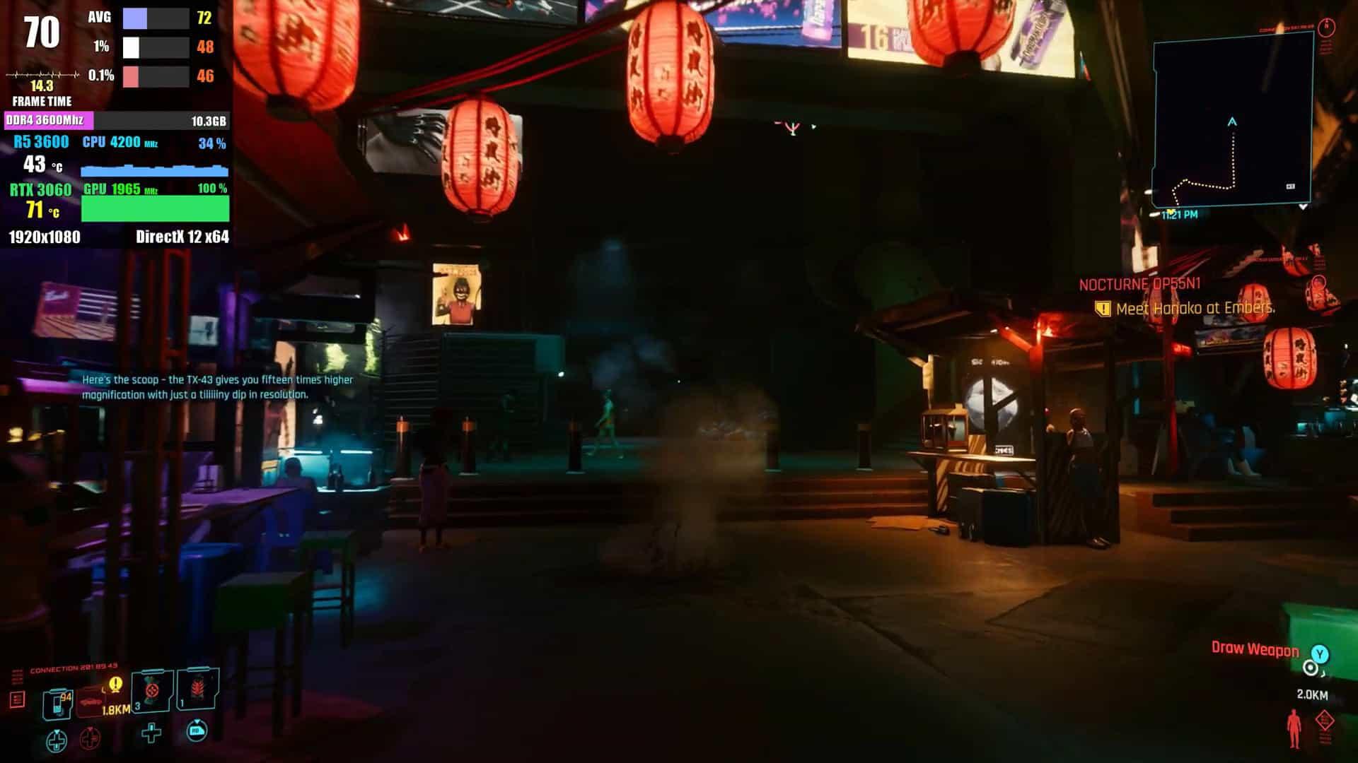 사이버펑크 2077 1080p에서 70프레임 이상을 보였다
