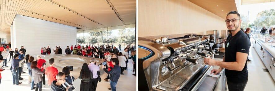1층으로 내려오면 올리브 나무로 둘러쌓인 카페나 애플파크 브랜드 상품을 판매하는 매장을 방문할 수 있다