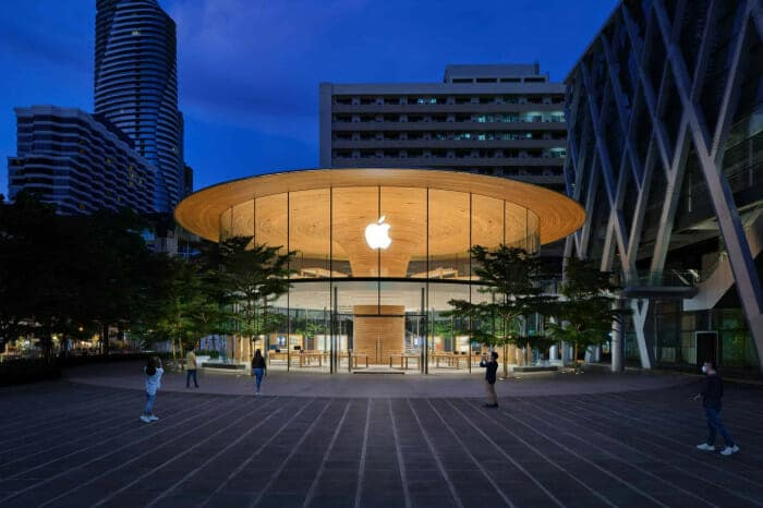 특이한 형태의 방콕에 위치한 <애플 센트럴 월드>